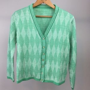 Vintage Cropped Cardigan - Minty Diamonds!